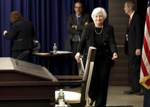 Federal Reserve Chair Janet Yellen arrives for a news conference following the Federal Open Market Committee meeting in Washington September 17, 2015.  REUTERS/Jonathan Ernst