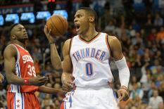 Nov 13, 2015; Oklahoma City, OK, USA; Oklahoma City Thunder guard Russell Westbrook (0) reacts after a play against the Philadelphia 76ers during the fourth quarter at Chesapeake Energy Arena.  Mark D. Smith-USA TODAY Sports
