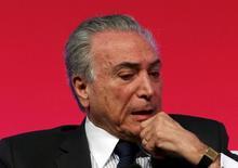 Vice-presidente Michel Temer, em fórum econômico em São Paulo. 31/08/2015  REUTERS/Paulo Whitaker