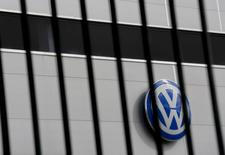 A logo of VW is pictured at a Volkswagen dealership in Camas, near Seville, southern Spain November 5, 2015. REUTERS/Marcelo del Pozo
