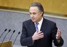 Russian Sports Minister Vitaly Mutko delivers a speech during a session of the State Duma, the lower house of parliament, in Moscow, Russia, November 18, 2015. REUTERS/Sergei Karpukhin