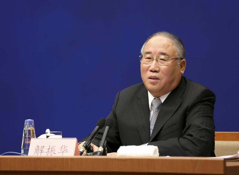 China's climate change special representative Xie Zhenhua speaks at a news conference in Beijing, China, November 19, 2015. REUTERS/Stringer