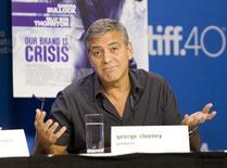 Ator e produtor George Clooney concede entrevista coletiva no Festival de Toronto, no Canadá, em setembro. 12/09/2015 REUTERS/Fred Thornhill