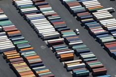 Semi-truck trailers are shown at the Port of Long Beach in this aerial photograph taken above Long Beach, California August 5, 2015.   REUTERS/Mike Blake