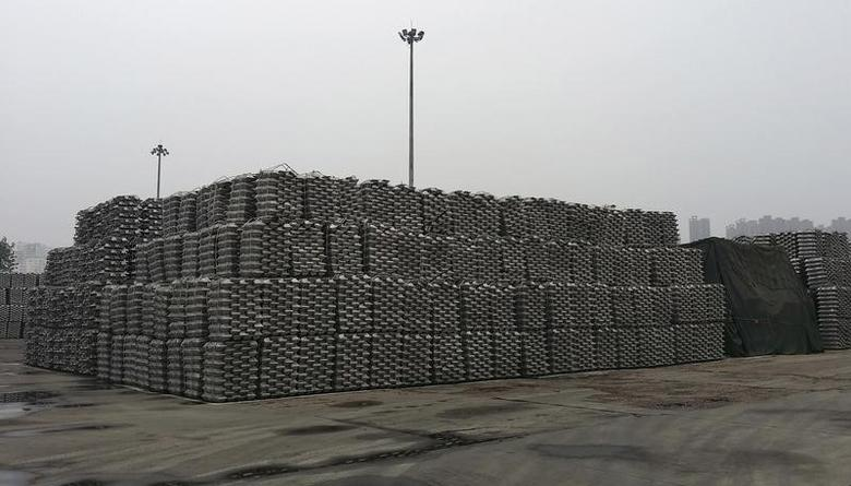 Aluminum ingots are piled up at a bonded storage area at the Dagang Terminal of Qingdao Port, in Qingdao, Shandong province June 7, 2014.  REUTERS/Fayen Wong
