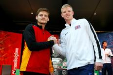 Tennis - Belgium v Great Britain - Davis Cup Final - Flanders Expo, Ghent, Belgium - 26/11/15 Great Britain's Kyle Edmund poses with Belgium's David Goffin after the draw Action Images via Reuters / Jason Cairnduff Livepic