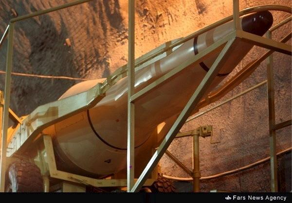 A missile is seen inside an underground missile base for Iran's Islamic Revolutionary Guards Corps (IRGC) Aerospace Force at an undisclosed location in this undated handout photo courtesy of Fars News. REUTERS/farsnews.com/Handout via Reuters