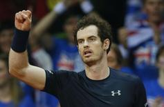 Tennis - Belgium v Great Britain - Davis Cup Final - Flanders Expo, Ghent, Belgium - 27/11/15. Men's Singles - Great Britain's Andy Murray celebrates after winning his match against Belgium?s Ruben Bemelmans. Action Images via Reuters / Jason Cairnduff