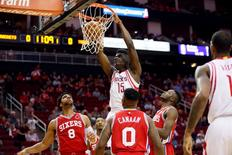 Nov 27, 2015; Houston, TX, USA; Houston Rockets center Clint Capela (15) dunks the ball against the Philadelphia 76ers during the first half at Toyota Center. Mandatory Credit: Soobum Im-USA TODAY Sports