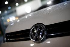 A logo of Volkswagen is seen on a Golf car parked at a dealership in Seoul, South Korea, November 25, 2015. REUTERS/Kim Hong-Ji
