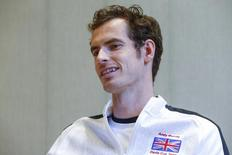 Britain's Andy Murray smiles during an interview with Reuters Television in Ghent, Belgium November 30, 2015.  REUTERS/Yves Herman