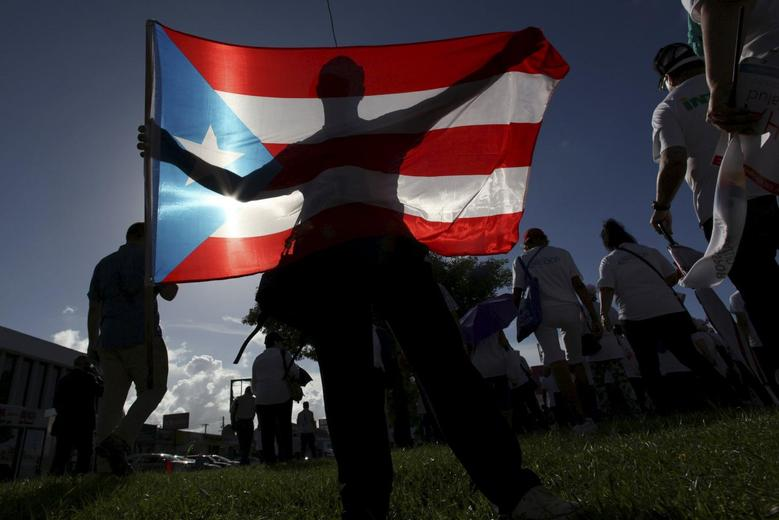 A protester holding a Puerto Rico's flag takes part in a march in San Juan, Puerto Rico, November 5, 2015.  REUTERS/Alvin Baez