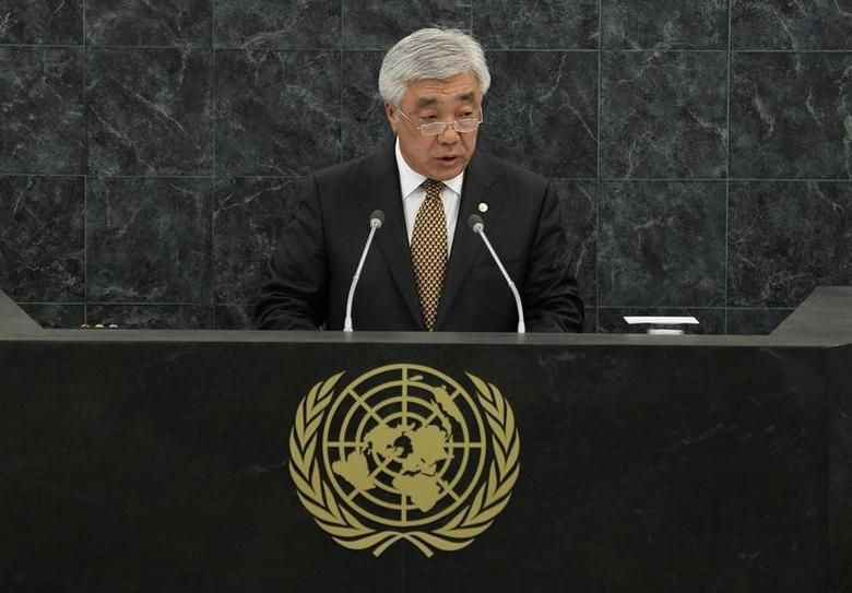 Kazakhstan's Minister of Foreign Affairs Erlan Idrissov addresses the 68th United Nations General Assembly at U.N. headquarters in New York, September 27, 2013.     REUTERS/Eduardo Munoz