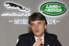 Chief Executive Officer of Jaguar Land Rover Dr. Ralf Speth speaks at media round table before the Chery Jaguar Land Rover plant opening ceremony in Changshu, Jiangsu province, October 21, 2014.  REUTERS/Aly Song