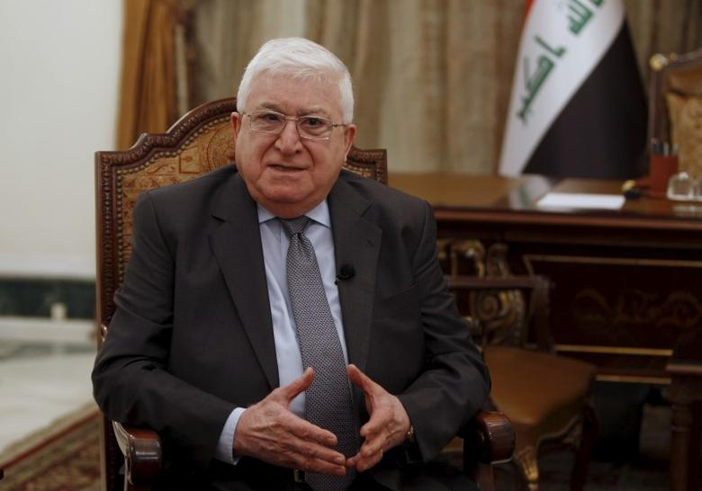 Iraq's President Fouad Massoum speaks during an interview with Reuters at the presidential palace in Baghdad March 25, 2015. REUTERS/Ahmed Saad