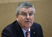 International Olympic Committee (IOC) President Thomas Bach addresses participants at the start of the Executive Board meeting at the IOC headquarters in Lausanne, Switzerland December 8, 2015. REUTERS/Denis Balibouse