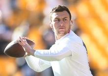 Nov 15, 2015; Pittsburgh, PA, USA; Cleveland Browns quarterback Johnny Manziel (2) warms up before playing the Pittsburgh Steelers at Heinz Field. Mandatory Credit: Charles LeClaire-USA TODAY Sports