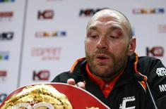 Boxing - Wladimir Klitschko v Tyson Fury WBA, IBF & WBO Heavyweight Title's - Esprit Arena, Dusseldorf, Germany - 28/11/15 Tyson Fury during a press conference after the fight  Action Images via Reuters / Lee Smith