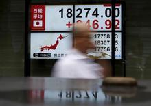 Un peatón camina junto a un tablero electrónico que muestra el índice Nikkei de Japón, afuera de una correduría en Tokio, Japón, 9 de septiembre de 2015. El índice Nikkei de la bolsa de Tokio cayó el jueves a un mínimo de cierre en cinco semanas luego de que un repunte del yen golpeó a las acciones de exportadores como Fanuc y Honda Motor, aunque el volumen de operaciones fue bajo. REUTERS/Yuya Shino