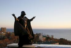 Darth Mykolaiovych Vader, who is dressed as the Star Wars character Darth Vader, poses for a picture as he waits for sunrise on the roof of his apartment block in Odessa, Ukraine, December 4, 2015. REUTERS/Valentyn Ogirenko