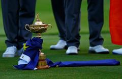 The Ryder Cup sits on the grass at the driving range following the closing ceremony of the 40th Ryder Cup at Gleneagles in Scotland September 28, 2014. REUTERS/Eddie Keogh