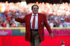 Jul 14, 2015; Cincinnati, OH, USA; Pete Rose is honored prior to the 2015 MLB All Star Game at Great American Ball Park. Mandatory Credit: Frank Victores-USA TODAY Sports - RTX1KAW6