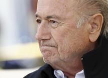 Presidente suspenso da Fifa, Joseph Blatter, durante evento em Ulrichen, Suíça.   22/08/2015   REUTERS/Denis Balibouse