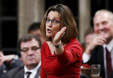 Canada's International Trade Minister Chrystia Freeland speaks during Question Period in the House of Commons on Parliament Hill in Ottawa, Canada, December 7 , 2015. REUTERS/Chris Wattie