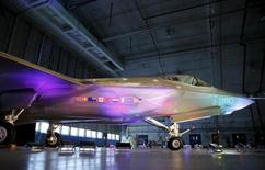 A Lockheed Martin F-35 Lightning II fighter jet is seen in its hanger at Patuxent River Naval Air Station in Maryland October 28, 2015.     REUTERS/Gary Cameron