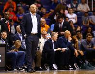 Dec 20, 2015; Phoenix, AZ, USA; Milwaukee Bucks head coach Jason Kidd against the Phoenix Suns at Talking Stick Resort Arena. The Bucks defeated the Suns 101-95. Mandatory Credit: Mark J. Rebilas-USA TODAY Sports