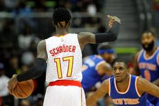 Dec 26, 2015; Atlanta, GA, USA; Atlanta Hawks guard Dennis Schroder (17) dyed 17 in his hair during the first quarter against the New York Knicks  at Philips Arena. Mandatory Credit: Brett Davis-USA TODAY Sports
