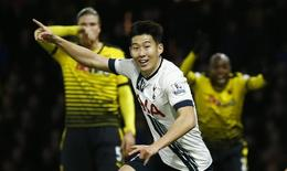 Son Heung Min, do Tottenham Hotspur, comemora gol contra o Watford. 28/12/2015 REUTERS/Eddie Keogh/Livepic
