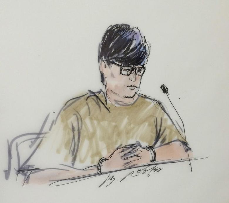 Enrique Marquez, 24, is shown in this courtroom sketch as he appears during a hearing in federal court in Riverside, California, December 17, 2015.   REUTERS/Bill Robles