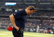 Oct 11, 2015; Arlington, TX, USA; Dallas Cowboys head coach Jason Garrett reacts on the sidelines in the fourth quarter against the New England Patriots at AT&T Stadium. The Patriots beat the Cowboys 30-6. Mandatory Credit: Matthew Emmons-USA TODAY Sports