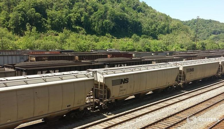 Coal trains approach Norfolk Southern's Williamson rail yard in Williamson, West Virginia at the border of Pike County, Kentucky May 13, 2015. Picture taken May 13, 2015. REUTERS/Valerie Volcovici