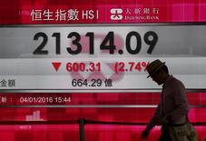 A man walks past a panel displaying the benchmark Hang Seng index during afternoon trading in Hong Kong, China January 4, 2016.    REUTERS/Bobby Yip