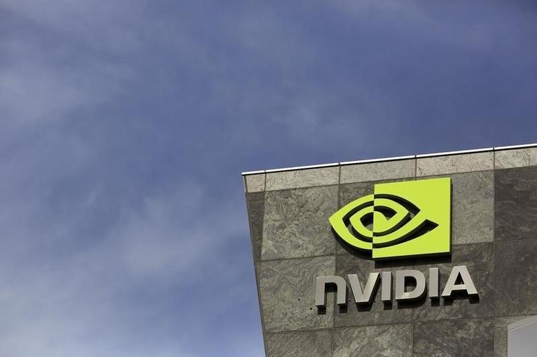 The logo of technology company Nvidia is seen at its headquarters in Santa Clara, California February 11, 2015. REUTERS/Robert Galbraith