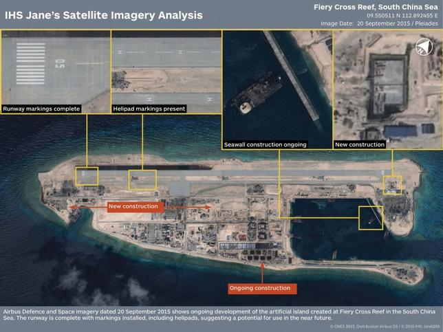The runway at the Fiery Cross Reef, one of three China was constructing on artificial islands built up from seven reefs and atolls in the Spratlys archipelago, is shown in this IHS Jane's Satellite Imagery Analysis handout image released on January 4, 2016.  REUTERS/CNES 2015. Distribution Airbus DS / IHS: 1640203/Handout via Reuters