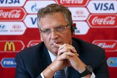 FIFA secretary general Jerome Valcke attends a news conference in Samara, Russia, June 10, 2015. REUTERS/Maxim Zmeyev