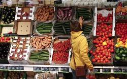Una mujer compra verduras en un supermercado orgánico en Berlín, el  31 de enero de 2013. Las ventas minoristas alemanas subieron en noviembre de forma mensual e interanual, en una señal de que el consumo privado continuó siendo un conductor confiable del crecimiento en la mayor economía de Europa a fines del año pasado. REUTERS/Fabrizio Bensch