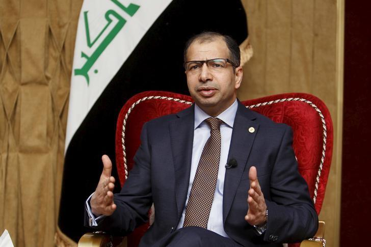 Speaker of the Iraqi Parliament Salim al-Jabouri speaks during an interview with Reuters in Baghdad, January 7, 2016.  REUTERS/Khalid al Mousily