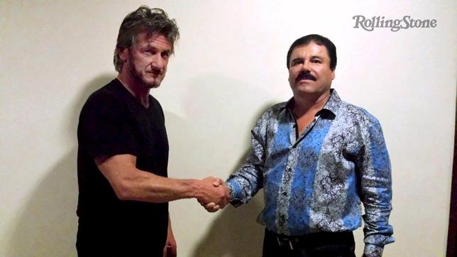 Actor Sean Penn (L) shakes hands with Mexican drug lord Joaquin ''Chapo'' Guzman in Mexico, in this undated Rolling Stone handout photo obtained by Reuters on January 10, 2016. REUTERS/Rolling Stone/Handout via Reuters
