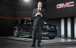 Mark Reuss, Executive VP, Global Product Development for GMC, introduces the 2017 GMC Acadia at the North American International Auto Show in Detroit, January 12, 2016.   REUTERS/Mark Blinch