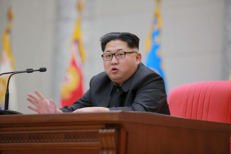 North Korean leader Kim Jong Un speaks during a visit to the Ministry of the People's Armed Forces on the occasion of the new year, in this undated photo released by North Korea's Korean Central News Agency (KCNA) on January 10, 2016.  REUTERS/KCNA