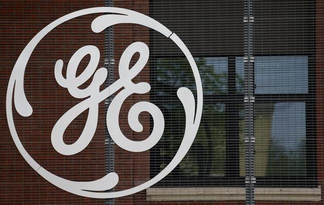 The logo of U.S. conglomerate General Electric is pictured at the company's site in Belfort, April 27, 2014. REUTERS/Vincent Kessler