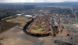 An aerial view of the former site of the Hollywood Park Race Track in Inglewood, California- the site of a proposed 80,000 seat NFL Stadium by St. Louis Rams owner Stan Kroenke- is shown in this February 22, 2015 photo.  MANDATORY CREDIT: Kirby Lee-USA TODAY Sports