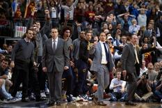 Jan 12, 2016; Dallas, TX, USA; The Cleveland Cavaliers bench celebrates during the overtime period against the Dallas Mavericks at the American Airlines Center. The Cavaliers defeat the Mavericks 110-107 in overtime. Mandatory Credit: Jerome Miron-USA TODAY Sports