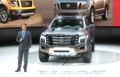 Jose Munoz, Chair of Nissan North America, introduces the Nissan Titan Warrior concept truck at the North American International Auto Show in Detroit, Michigan January 12, 2016.  REUTERS/Rebecca Cook -