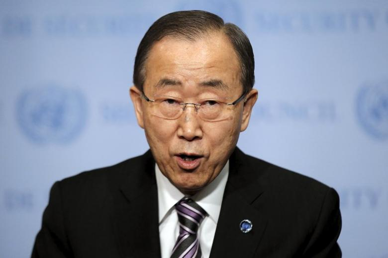 United Nations Secretary-General Ban Ki-moon speaks at U.N. headquarters in New York, January 6, 2016. REUTERS/Brendan McDermid