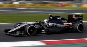 Force India Formula One driver Sergio Perez of Mexico drives during the Mexican F1 Grand Prix at Autodromo Hermanos Rodriguez in Mexico City, November 1, 2015.  REUTERS/Henry Romero